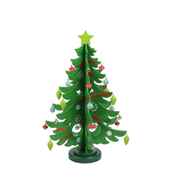 "13.75"" Decorative Wooden Christmas Tree Cut-Out Table Top Decoration"""