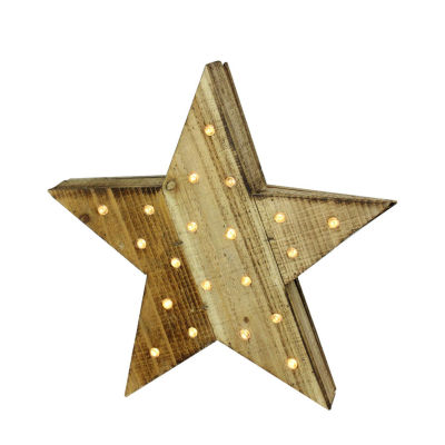 "15.5"" Luxury Lodge B/O LED Lighted Country Rustic Natural Wooden Star Christmas Decoration"""