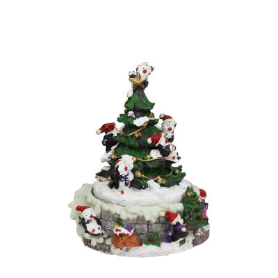 "6"" Animated Penguin and Christmas Tree Winter Scene Rotating Music Box"""
