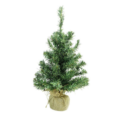 """18"""" x 9.5"""" Pre-Lit Mixed Green Pine Artificial Christmas Tree in Burlap Base - Clear LED Lights"""""""