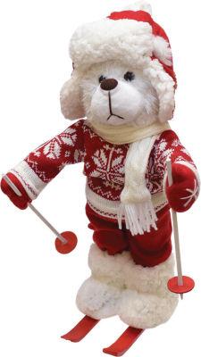 "15"" Retro Christmas White Winter Boy Bear with Skis Christmas Figure Decoration"""