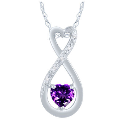 Womens Diamond Accent Genuine Purple Amethyst Sterling Silver Heart Pendant