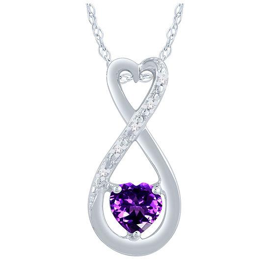 Womens Diamond Accent Genuine Purple Amethyst Sterling Silver Heart Pendant