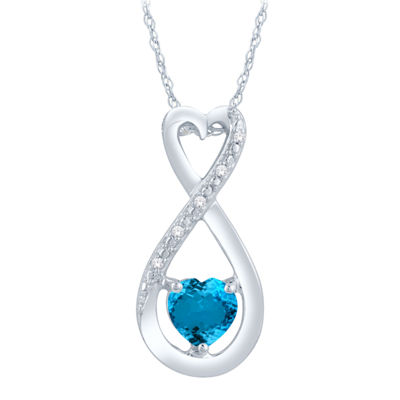 Diamond Accent Blue Topaz Heart Sterling Silver Pendant