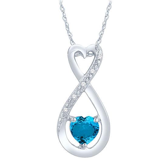Diamond Accent Blue Topaz Heart Sterling Silver Pendant