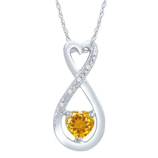 Womens Diamond Accent Genuine Yellow Citrine Sterling Silver Heart Pendant