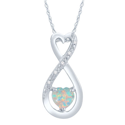 Womens Diamond Accent Lab Created White Opal Sterling Silver Heart Pendant