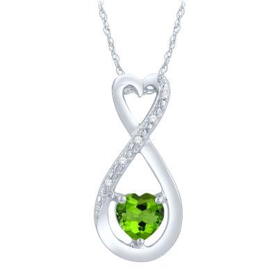 Diamond Accent Green Peridot Heart Sterling Silver Pendant