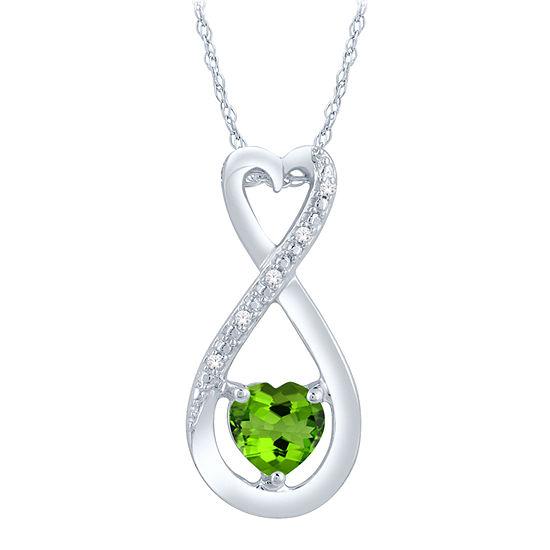 Womens Diamond Accent Genuine Green Peridot Sterling Silver Heart Pendant