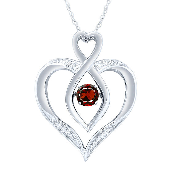Womens Diamond Accent Genuine Red Garnet Sterling Silver Round Pendant