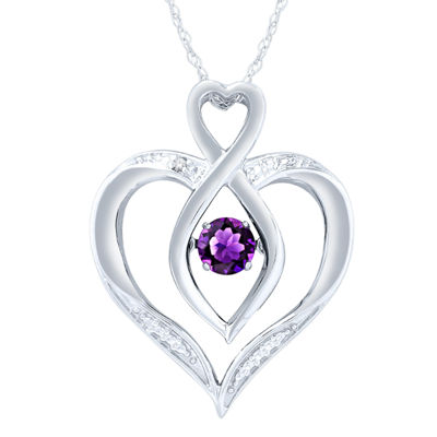 Womens Diamond Accent Genuine Purple Amethyst Sterling Silver Round Pendant