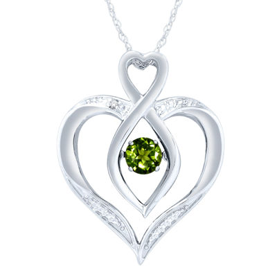 Womens Diamond Accent Genuine Green Peridot Sterling Silver Round Pendant