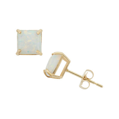Princess White Opal 10K Gold Stud Earrings