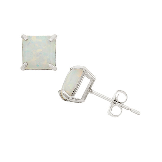 Lab Created White Opal 10K Gold 6mm Stud Earrings