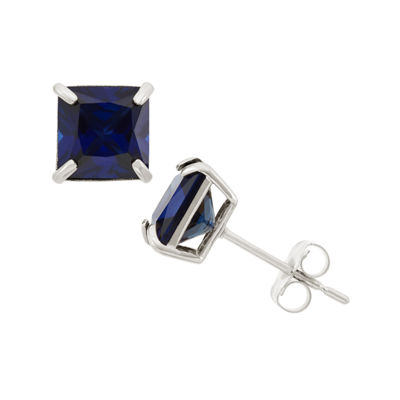 Lab Created Blue Sapphire 10K Gold 6mm Stud Earrings