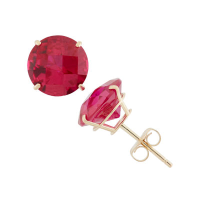 Lab Created Red Ruby 10K Gold 8mm Stud Earrings