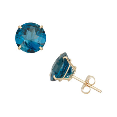 Genuine Blue Topaz 10K Gold 8mm Stud Earrings
