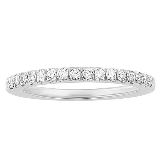 Enchanted Disney Fine Jewelry Womens 1/4 CT. T.W. Genuine White Diamond 14K White Gold Beauty and the Beast Wedding Band