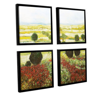 Brushstone Wildflower Valley 4-pc. Square FloaterFramed Canvas Wall Art