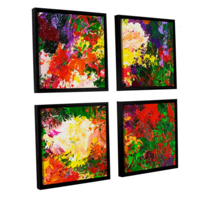 Brushstone Wisteria And Roses 4-pc. Square FloaterFramed Canvas Wall Art