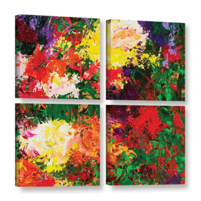 Brushstone Wisteria And Roses 4-pc. Square GalleryWrapped Canvas Wall Art