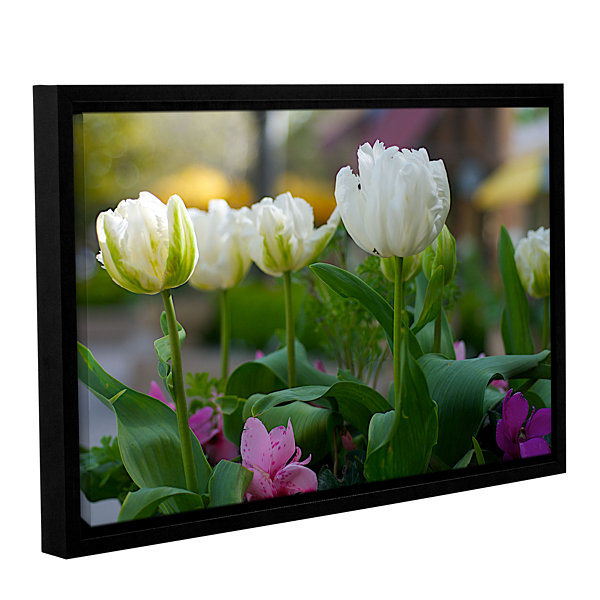 Brushstone White Tulips Gallery Wrapped Floater-Framed Canvas Wall Art