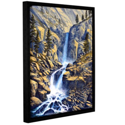 Brushstone Wilderness Waterfall Gallery Wrapped Floater-Framed Canvas Wall Art
