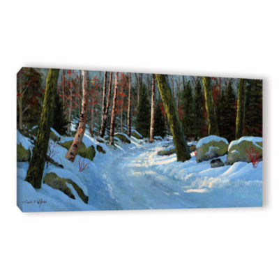Brushstone Winter Road Gallery Wrapped Canvas WallArt