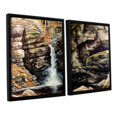 Brushstone Woodland Falls 2-pc. Floater Framed Canvas Wall Art