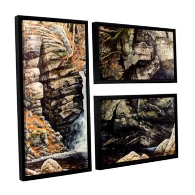 Brushstone Woodland Falls 3-pc. Flag Floater Framed Canvas Wall Art
