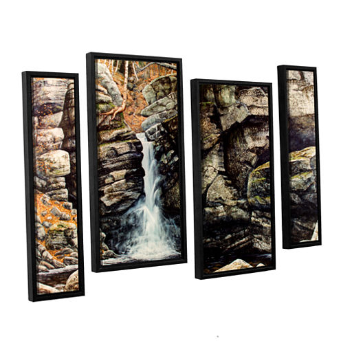 Brushstone Woodland Falls 4-pc. Floater Framed Staggered Canvas Wall Art