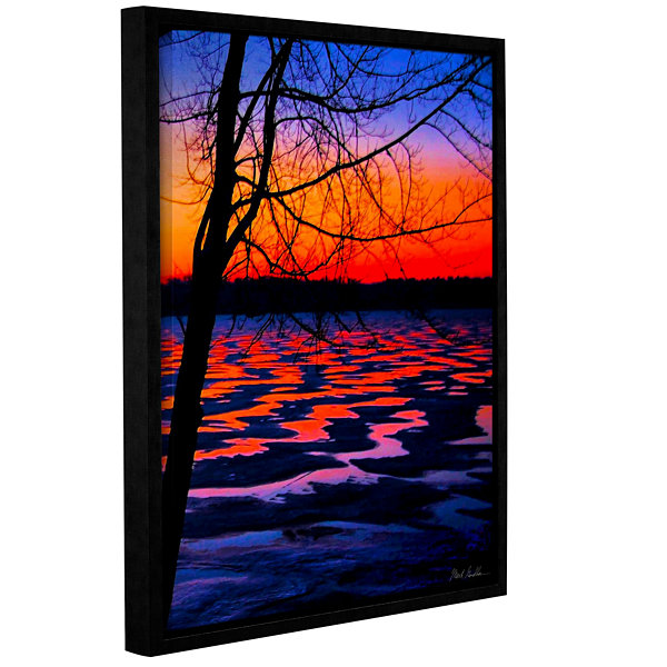 Brushstone Winter Lake Sunrise Gallery Wrapped Floater-Framed Canvas Wall Art