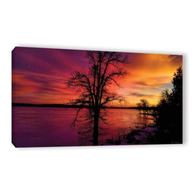 Brushstone Winterlake Sunset Gallery Wrapped Canvas Wall Art