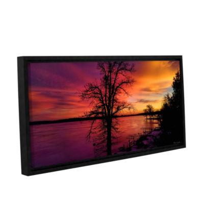Brushstone Winterlake Sunset Gallery Wrapped Floater-Framed Canvas Wall Art