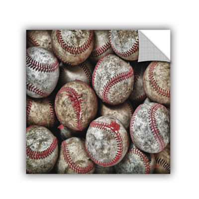 Brushstone Worn Baseballs Removable Wall Decal