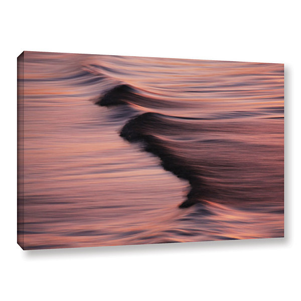 Brushstone Waves And Sunset Gallery Wrapped Canvas Wall Art