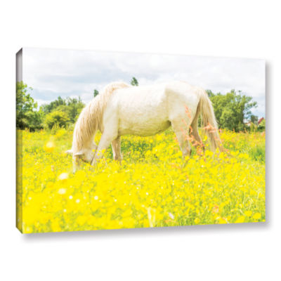Brushstone White Horse Loves Yellow Gallery Wrapped Canvas Wall Art
