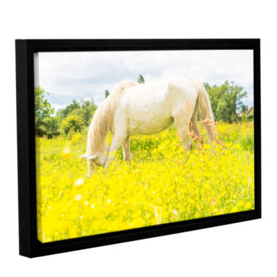 Brushstone White Horse Loves Yellow Gallery Wrapped Floater-Framed Canvas Wall Art