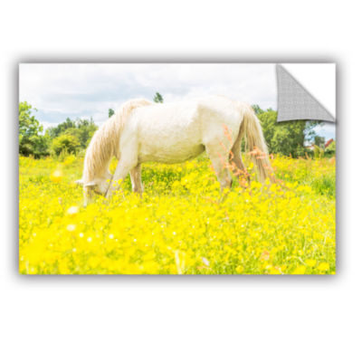 Brushstone White Horse Loves Yellow Removable WallDecal