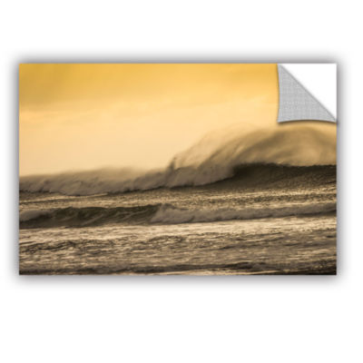 Brushstone Waves Against Yellow Removable Wall Decal