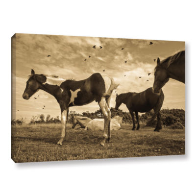 Brushstone Wind Blowing Horses Gallery Wrapped Canvas Wall Art