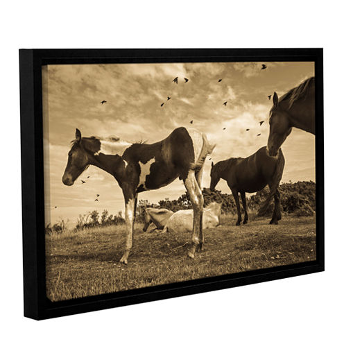 Brushstone Wind Blowing Horses Gallery Wrapped Floater-Framed Canvas Wall Art