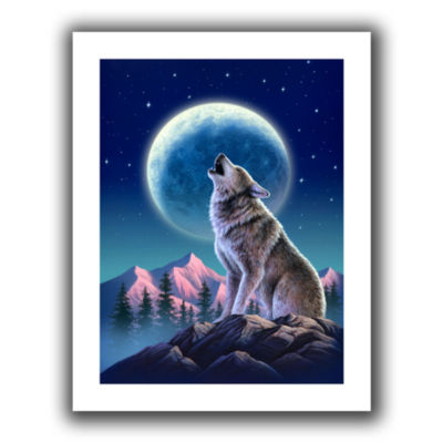 Brushstone Wolf Moon Canvas Wall Art