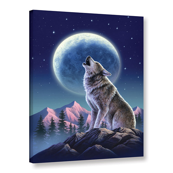 Brushstone Wolf Moon Gallery Wrapped Canvas Wall Art
