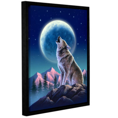 Brushstone Wolf Moon Gallery Wrapped Floater-Framed Canvas Wall Art
