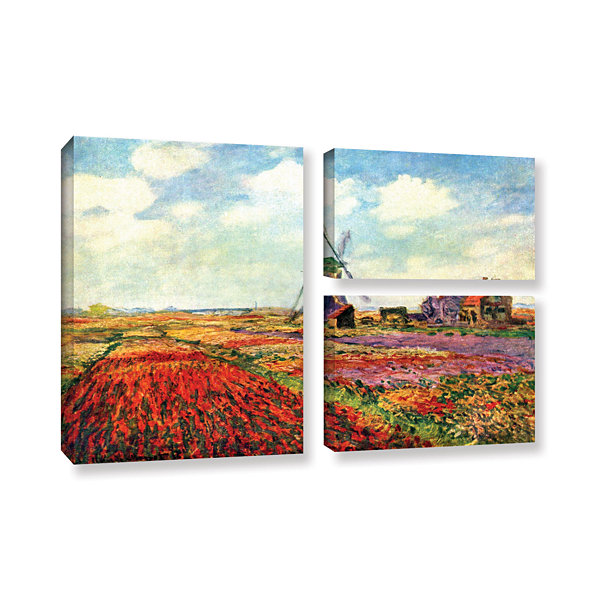 Brushstone Windmill by Claude Monet 3-pc. Flag Gallery Wrapped Canvas Wall Art