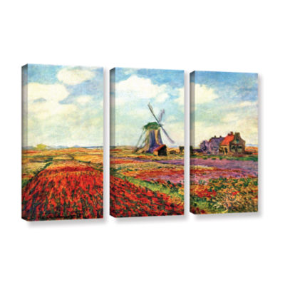 Brushstone Windmill by Claude Monet 3-pc. GalleryWrapped Canvas Wall Art