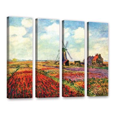 Brushstone Windmill by Claude Monet 4-pc. GalleryWrapped Canvas Wall Art