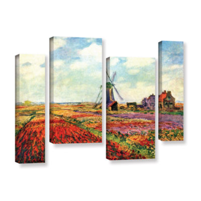 Brushstone Windmill by Claude Monet 4-pc. GalleryWrapped Staggered Canvas Wall Art