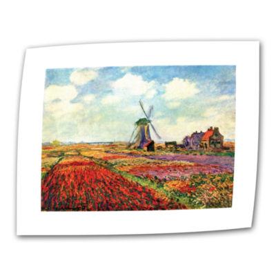 Brushstone Windmill by Claude Monet Canvas Wall Art